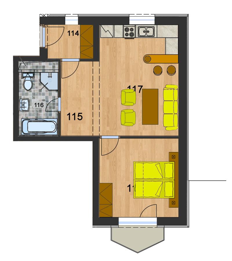 Byt 3 (2-izbový)